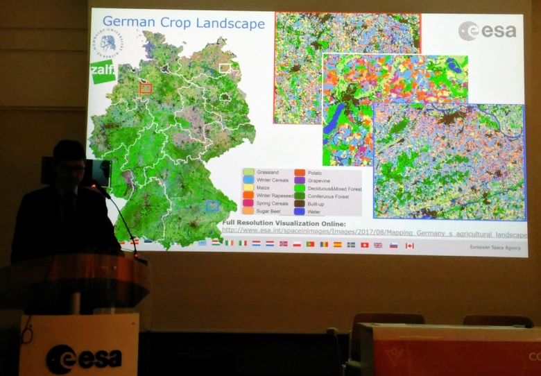 Espen Volden (ESA) demonstrates detailed crop maps over Germany created by merging Landsat and Sentinel-2 data.