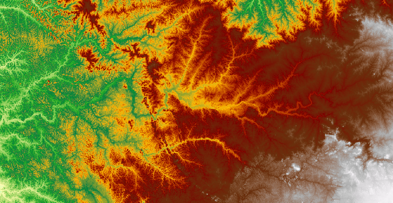 Sample elevation map of Central Africa at 90m spatial resolution (tile number: 42_12)